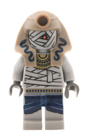 charmer: Adelaide, Australia - January 9, 2015: A studio shot of a Snake Charmer Mummy Lego minifigure from the Pharaohs Quest Theme. Lego is extremely popular worldwide with children and collectors.
