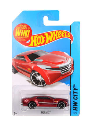 unopened: Adelaide, Australia - May 14, 2016:An isolated shot of an unopened Ryura LX Hot Wheels Diecast Toy Car. Replica Vehicles made by Hot Wheels are highy sought after collectables. Editorial
