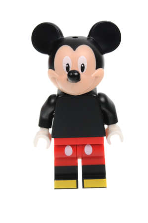 collectable: Adelaide, Australia - May 14, 2016:An isolated shot of a Mickey Mouse Cat Lego Minifigure from Disney Series 1 of the collectable lego minifigure toys. Lego is very popular with children and collectors worldwide.
