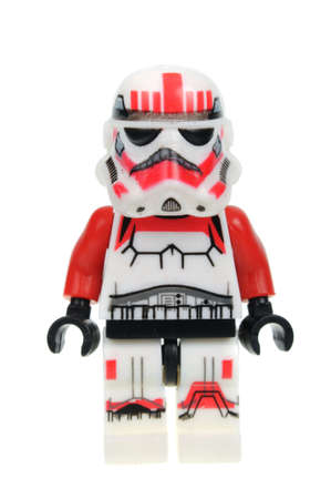 trooper: Adelaide, Australia - May 09, 2016:A photo of a Imperial Shock Trooper Lego Minifigure isolated on a white background. Lego and Star Wars merchandise are highly sought after collectables.