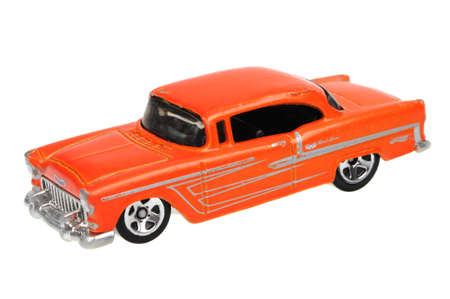 sought: Adelaide, Australia - May 21, 2016:An isolated shot of a 1955 Chevy Hot Wheels Diecast Toy Car. Hot Wheels cars made by Mattel are highly sought after collectables. Editorial