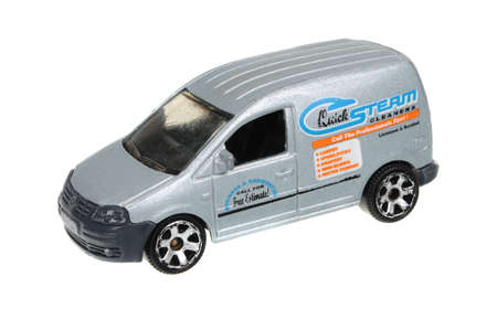 replica: Adelaide, Australia - May 21, 2016:An isolated shot of a 2007 Volkswagen Caddy Quick Steam Matchbox Diecast Toy Car. Replica diecast toy cars made by Matchbox are highly sought after collectables.