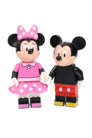 minnie mouse: Adelaide, Australia - May 21, 2016:An isolated shot of a Mickey and Minnie Mouse Lego Minifigure from Disney Series 1 of the collectable lego minifigure toys. Lego is very popular with children and collectors worldwide. Editorial