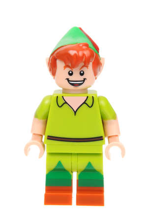 collectable: Adelaide, Australia - May 21, 2016:An isolated shot of a Peter Pan Lego Minifigure from Disney Series 1 of the collectable lego minifigure toys. Lego is very popular with children and collectors worldwide. Editorial