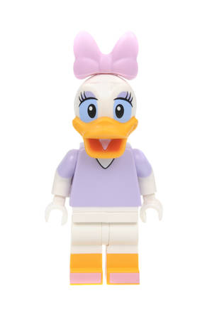 collectable: Adelaide, Australia - May 21, 2016:An isolated shot of a Daisy Duck Lego Minifigure from Disney Series 1 of the collectable lego minifigure toys. Lego is very popular with children and collectors worldwide. Editorial