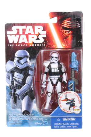 stormtrooper: Adelaide, Australia - May 21, 2016:An isolated shot of an unopened 2015 First Order Stormtrooper Squad Leader action figure from the Star Wars The Force Awakens movie.Merchandise from the Star Wars movies are highy sought after collectables.