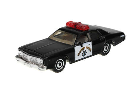 dodge: Adelaide, Australia - May 21, 2016:An isolated shot of a 2008 Dodge Monaco Police Car Matchbox Diecast Toy Car. Replica diecast toy cars made by Matchbox are highly sought after collectables.