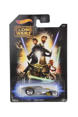 clone: Adelaide, Australia - May 21, 2016:An isolated shot of an unopened Star Wars Clone Wars Brutalistic Hot Wheels Diecast Toy Car from the Star Wars universe.Merchandise from the Star Wars movies are highy sought after collectables.