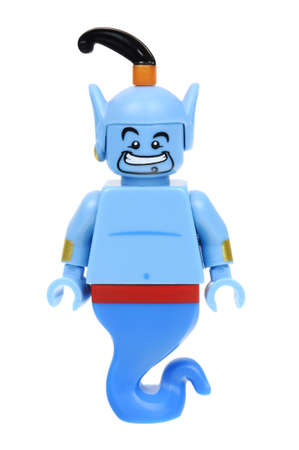 collectable: Adelaide, Australia - May 21, 2016:An isolated shot of a Genie Lego Minifigure from Disney Series 1 of the collectable lego minifigure toys. Lego is very popular with children and collectors worldwide.