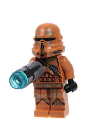 trooper: Adelaide, Australia - March 06, 2016:A photo of a Lego Geonosis Airborne Clone Trooper Lego Minifigure isolated on a white background. Lego and Star Wars merchandise are highly sought after collectables.