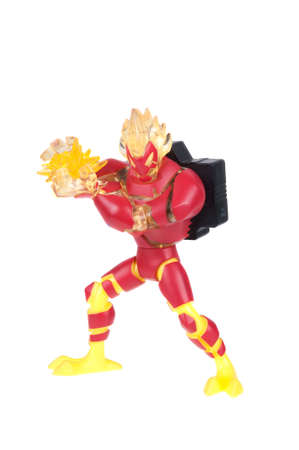 animated action: Adelaide, Australia - December 20, 2015:A studio shot of a Heatblast action figure from the Animated Series Ben 10.Ben 10 is extremely popular worldwide with children.