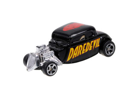 daredevil: Adelaide, Australia - March 15, 2016:An isolated shot of a Daredevil 1934 Ford Hot Rod Maisto Diecast Toy Car. Replica diecast toy cars made by Maisto are highly sought after collectables.