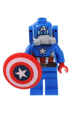 space suit: Adelaide, Australia - May 26, 2016:A studio shot of a Captain America Space Suit Lego minifigure from the Lego 76049 Avenjet Space Mission Set. Lego is extremely popular worldwide with children and collectors.
