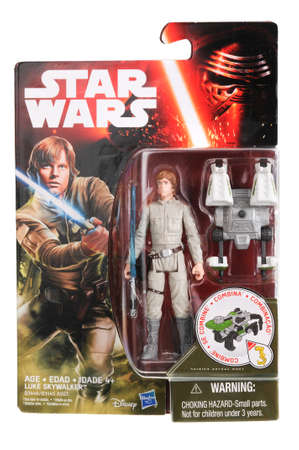 sought: Adelaide, Australia - May 02, 2016:An isolated shot of an unopened 2015 Luke Skywalker action figure from the Star Wars universe.Merchandise from the Star Wars movies are highy sought after collectables.
