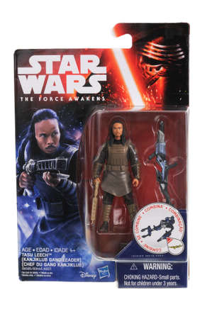 sought: Adelaide, Australia - May 02, 2016:An isolated shot of an unopened Tasu Leech action figure from the Star Wars The Force Awakens Movie. Merchandise from the Star Wars movies are highy sought after collectables.