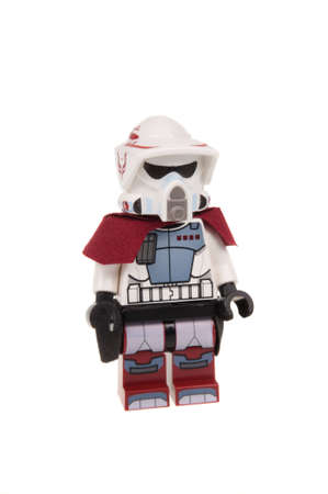 trooper: Adelaide, Australia - January 03, 2016:A photo of a ARC Trooper Lego Minifigure isolated on a white background. Lego and Star Wars merchandise are highly sought after collectables.