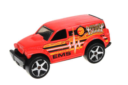 ems: Adelaide, Australia - May 24, 2016:An isolated shot of a 2002 Power Panel EMS Rescue Hot Wheels Diecast Toy Car. Hot Wheels cars made by Mattel are highly sought after collectables.