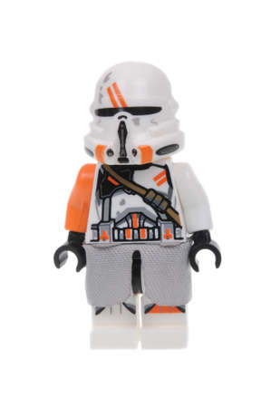 trooper: Adelaide, Australia - March 06, 2016:A photo of a 212th Battalion Airborne Clone Trooper Lego Minifigure isolated on a white background. Lego and Star Wars merchandise are highly sought after collectables. Editorial