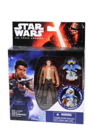 sought: Adelaide, Australia - May 02, 2016:An isolated shot of an unopened 2015 Poe Dameron Armor Up action figure from the Star Wars The Force Awakens movie.Merchandise from the Star Wars movies are highy sought after collectables.