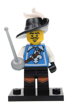 mosquetero: Adelaide, Australia - April 18, 2016: A studio shot of a Musketeer Lego minifigure from the series 4 issue in 2011. Lego is extremely popular worldwide with children and collectors.