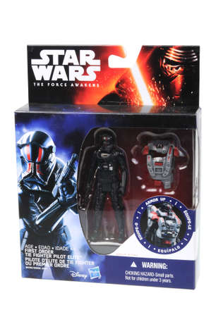 fighter pilot: Adelaide, Australia - May 02, 2016:An isolated shot of an unopened 2015 Tie Fighter Pilot Armor Up action figure from the Star Wars The Force Awakens movie.Merchandise from the Star Wars movies are highy sought after collectables. Editorial