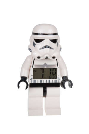 stormtrooper: Adelaide, Australia - December 25, 2015: A studio shot of a Stormtrooper Lego minifigure alarm clock from the movie series Star Wars. Lego is extremely popular worldwide with children and collectors.