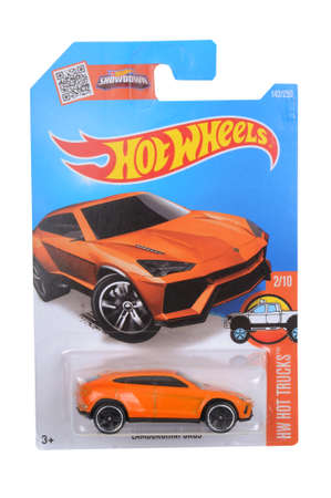 lamborghini: Adelaide, Australia - April 05, 2016:An isolated shot of an unopened Lamborghini Urus Hot Wheels Diecast Toy Car. Replica Vehicles made by Hot Wheels are highy sought after collectables.