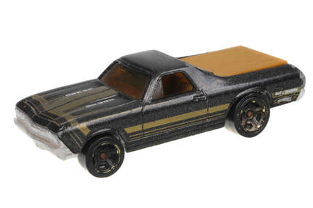 chevy: Adelaide, Australia - May 21, 2016:An isolated shot of a 1968 Chevy El Camino Hot Wheels Diecast Toy Car. Hot Wheels cars made by Mattel are highly sought after collectables. Editorial