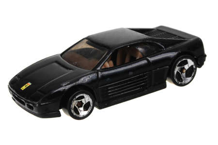 ferrari: Adelaide, Australia - May 24, 2016:An isolated shot of a 1990 Ferrari 348 Hot Wheels Diecast Toy Car. Hot Wheels cars made by Mattel are highly sought after collectables.