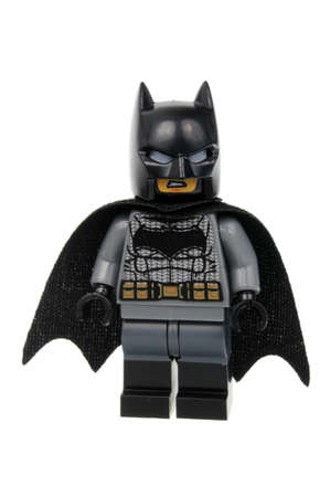 batman: Adelaide, Australia - April 28, 2016:A studio shot of a Batman V Superman Batman Lego Minifigure from the DC comics and movies. Lego is extremely popular worldwide with children and collectors.