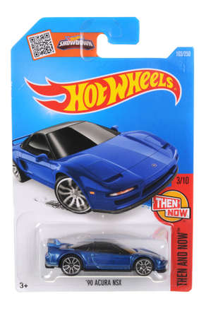 acura: Adelaide, Australia - April 01, 2016:An isolated shot of an unopened 1990 Acura NSX Hot Wheels Diecast Toy Car. Replica Vehicles made by Hot Wheels are highy sought after collectables. Editorial