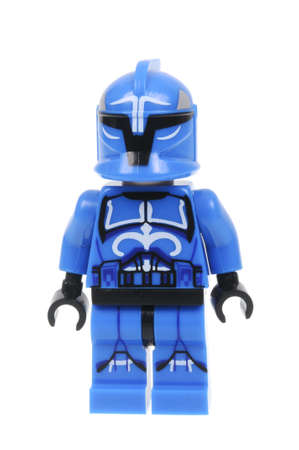 trooper: Adelaide, Australia - March 06, 2016:A photo of a Senate Commando Trooper Captain Lego Minifigure isolated on a white background. Lego and Star Wars merchandise are highly sought after collectables. Editorial