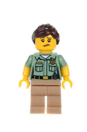 animal shot: Adelaide, Australia - February 14, 2016:An isolated shot of a Animal Control Officer Lego Minifigure from Series 15 of the collectable lego minifigure toys. Lego is very popular with children and collectors worldwide.