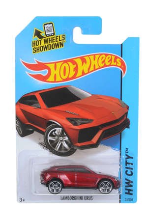 sought: Adelaide, Australia - April 05, 2016:An isolated shot of an unopened Lamborghini Urus Hot Wheels Diecast Toy Car. Replica Vehicles made by Hot Wheels are highy sought after collectables.