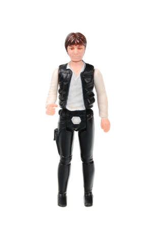 co action: Adelaide, Australia - May 26, 2016: A studio shot of a Vintage Han Solo Action Figure on a white background from the Star Wars universe. Star Wars is a very popular movie franchise worldwide and merchandise from Star Wars movies are highly sought after co
