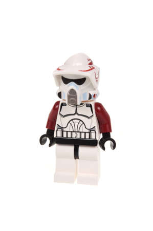 trooper: Adelaide, Australia - January 03, 2016:A photo of a ARF Trooper Lego Minifigure isolated on a white background. Lego and Star Wars merchandise are highly sought after collectables.