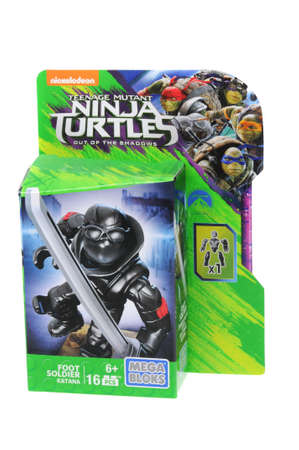 plastic soldier: Adelaide, Australia - May 02, 2016: An isolated unopened Foot Soldier Mega Bloks Figurine from the Teenage Mutant Ninja Turtles, Mega Bloks are the main rival in the plastic blocks to Lego. Mega Bloks licence several popular brands and distribute plastic