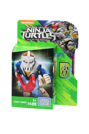 casey: Adelaide, Australia - April 30, 2016: An isolated unopened Casey Jones Mega Bloks Figurine from the Teenage Mutant Ninja Turtles, Mega Bloks are the main rival in the plastic blocks to Lego. Mega Bloks licence several popular brands and distribute plastic