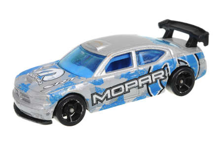 sought: Adelaide, Australia - May 21, 2016:An isolated shot of a 2009 Dodge Charger Drift Hot Wheels Diecast Toy Car. Hot Wheels cars made by Mattel are highly sought after collectables.