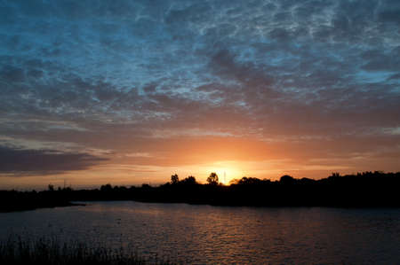 aquifer: Sunset over the Greenfields Wetlands, a large aquifer storage and recovery in the nothern suburbs of Adelaide.