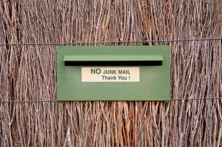 junk mail: A no Junk mail sticker on a letterbox