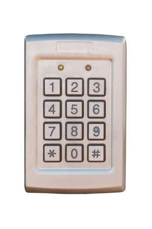 teclado num�rico: Un teclado de seguridad aislado en un fondo blanco