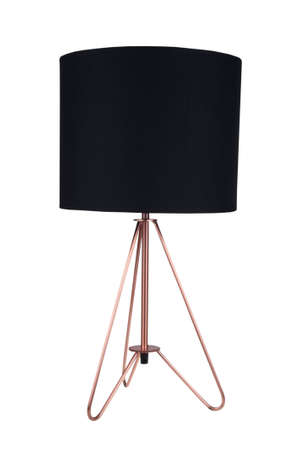 bedside lamps: A black fabric and copper tripod table lamp isolated on a white background