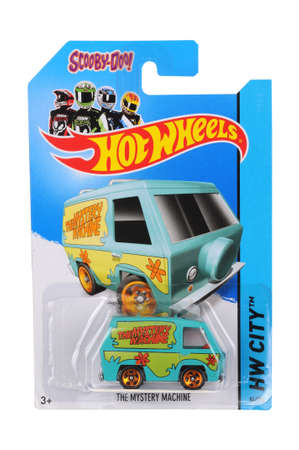 sought: Adelaide, Australia - June 05, 2016:An isolated shot of an unopened Scooby Doo The Mystery Machine Hot Wheels Diecast Toy Car. Replica Vehicles made by Hot Wheels are highy sought after collectables.