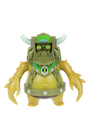 animated action: Adelaide, Australia - February 14, 2016:A studio shot of a Toepick action figure from the Animated Series Ben 10.Ben 10 is extremely popular worldwide with children. Editorial