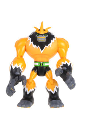 animated action: Adelaide, Australia - February 21, 2016:A studio shot of a Shocksquatch action figure from the Animated Series Ben 10.Ben 10 is extremely popular worldwide with children.
