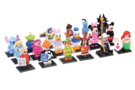 lightyear: Adelaide, Australia - June 05, 2016:A studio shot of a Complete Disney Series 1 Lego Minifigure Collection isolated on a white background. Lego is extremely popular worldwide with children and collectors. Editorial