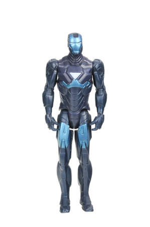 action figure: Adelaide, Australia - July 08, 2016:An isolated shot of a Iron Man action figure from the Marvel universe. Merchandise from Marvel comics and movies are highy sought after collectables.