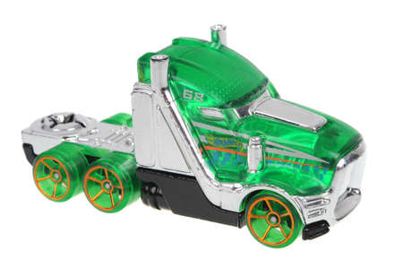 hauler: Adelaide, Australia - July 17, 2016:An isolated shot of a 2012 Speed Hauler Hot Wheels Diecast Toy Car. Hot Wheels cars made by Mattel are highly sought after collectables.