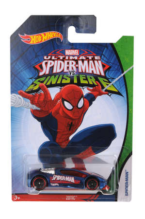 ultimate: Adelaide, Australia - June 22, 2016:An isolated shot of an unopened Ultimate Spiderman Hot Wheels Diecast Toy Car from the popular Marvel Character Spiderman. Merchandise from the Marvel universe are highy sought after collectables.